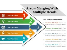 Arrow Merging With Multiple Heads Ppt Background
