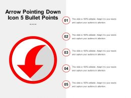 Arrow Pointing Down Icon 5 Bullet Points
