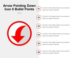 Arrow Pointing Down Icon 6 Bullet Points