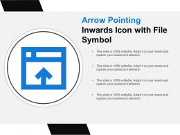 Arrow Pointing Inwards Icon With File Symbol