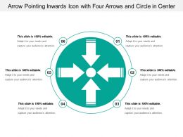 Arrow Pointing Inwards Icon With Four Arrows And Circle In Center