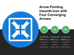 Arrow Pointing Inwards Icon With Four Converging Arrows