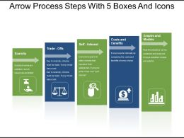 Arrow Process Steps With 5 Boxes And Icons