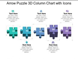 Arrow Puzzle 3d Column Chart With Icons