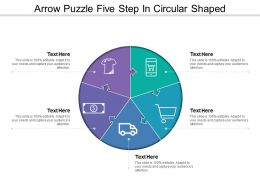 Arrow Puzzle Five Step In Circular Shaped