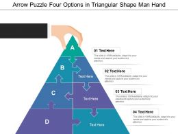 Arrow Puzzle Four Options In Triangular Shape Man Hand