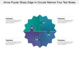 Arrow Puzzle Sharp Edge In Circular Manner Four Text Boxes