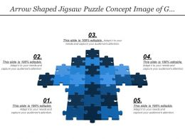 Arrow Shaped Jigsaw Puzzle Concept Image Of Growth Success And Building A Business