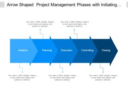 Arrow Shaped Project Management Phases With Initiating Planning And Controlling