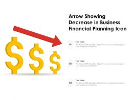 Arrow Showing Decrease In Business Financial Planning Icon
