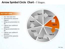 arrow symbol pie circle showing circular flow in process chart 7 stages powerpoint templates 0712