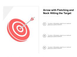 Arrow With Fletching And Nock Hitting The Target