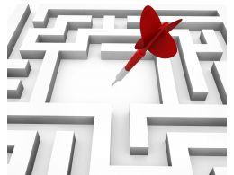 Arrow Within Maze Depicting Target Achievement Stock Photo