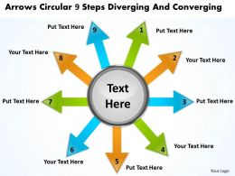 arrows circular 9 steps diverging and converging Processs PowerPoint templates