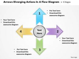 arrows diverging actions flow diagram 4 stages Processs and PowerPoint templates