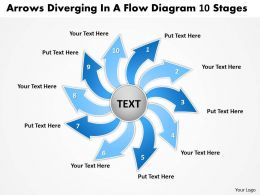 arrows diverging flow diagram 10 stages Circular Process Network PowerPoint Slides