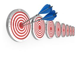 Arrows Hit On Target Board Showing Concept Of Meeting Goals Stock Photo