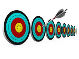 Arrows Hits In Center Target Stock Photo