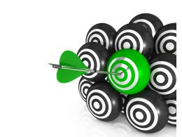 Arrows Hits Of On Green Target Board Stock Photo