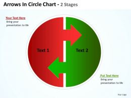 arrows in circle chart 2 stages showing circular flow in process 2 halves powerpoint templates 0712
