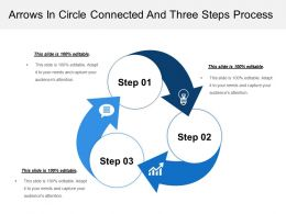 Arrows In Circle Connected And Three Steps Process