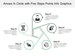 Arrows In Circle With Five Steps Points Info Graphics
