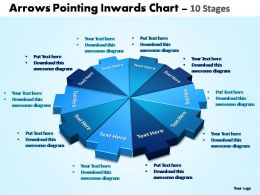 arrows pointing inwards chart 10 stages powerpoint templates