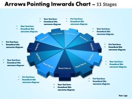 arrows pointing Inwards chart 11 stages powerpoint templates