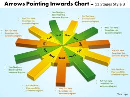 Arrows pointing inwards chart 11 stages style 2