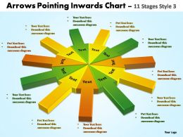 arrows pointing inwards chart 11 stages style 3 powerpoint templates