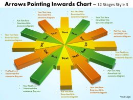 arrows pointing inwards chart 12 stages style 3 powerpoint 2
