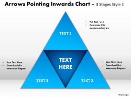 arrows pointing inwards chart 3 stages style 1 powerpoint templates