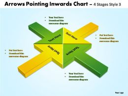arrows pointing inwards chart 4 stages style 3 powerpoint templates