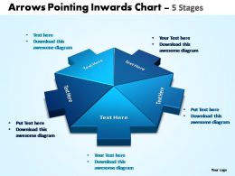 arrows pointing inwards chart 5 stages editable powerpoint templates