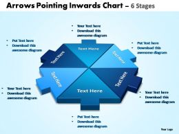 Arrows pointing inwards chart 6 stages editable powerpoint templates