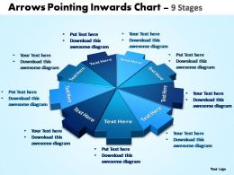arrows pointing inwards chart 9 stages powerpoint templates