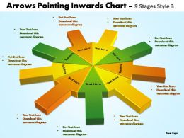 arrows pointing inwards chart 9 stages style 3 powerpoint templates