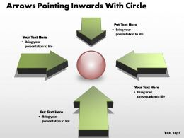 arrows pointing inwards with circle editable powerpoint templates