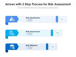 Arrows With 3 Step Process For Risk Assessment