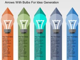 Arrows With Bulbs For Idea Generation Flat Powerpoint Design