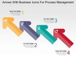 Arrows With Business Icons For Process Management Flat Powerpoint Design