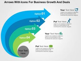 Arrows With Icons For Business Growth And Deals Flat Powerpoint Design