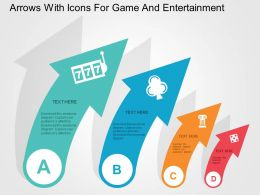 Arrows With Icons For Game And Entertainment Flat Powerpoint Design