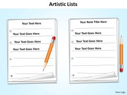 artistic lists with textbook and pencils and binders powerpoint diagram templates graphics 712
