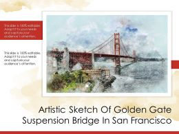 Artistic Sketch Of Golden Gate Suspension Bridge In San Francisco