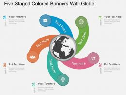 as Five Staged Colored Banners With Globe Flat Powerpoint Design