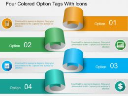 As Four Colored Option Tags With Icons Powerpoint Template