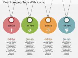 as Four Hanging Tags With Icons Flat Powerpoint Design