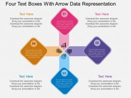 as Four Text Boxes With Arrow Data Representation Flat Powerpoint Design