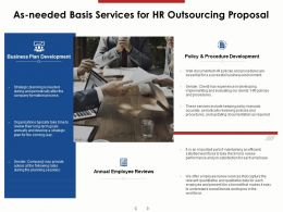 As Needed Basis Services For HR Outsourcing Proposal Ppt Powerpoint Presentation Professional